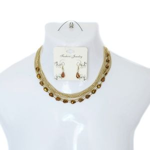 Fashion Jewelry Gold & Bronze Necklace & Earrings